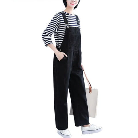 Women loose strap Jeans high waist wide leg Jumpsuit