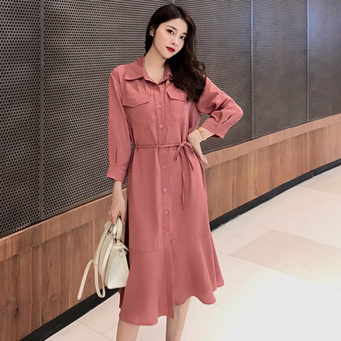 Turn-Down Collar Long Sleeve Casual Work Ruffle Midi Dress