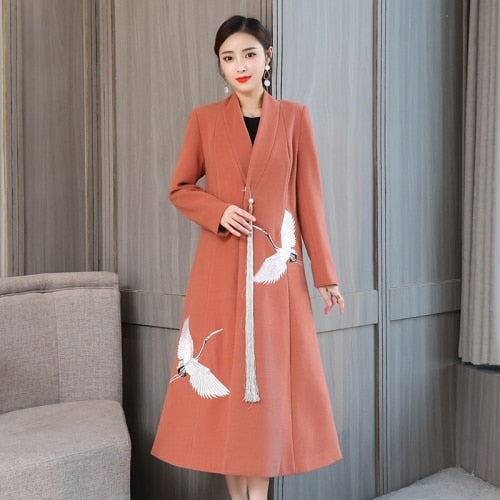 New Style Winter Long Sleeve And Embroidered Designs Thicken Coat
