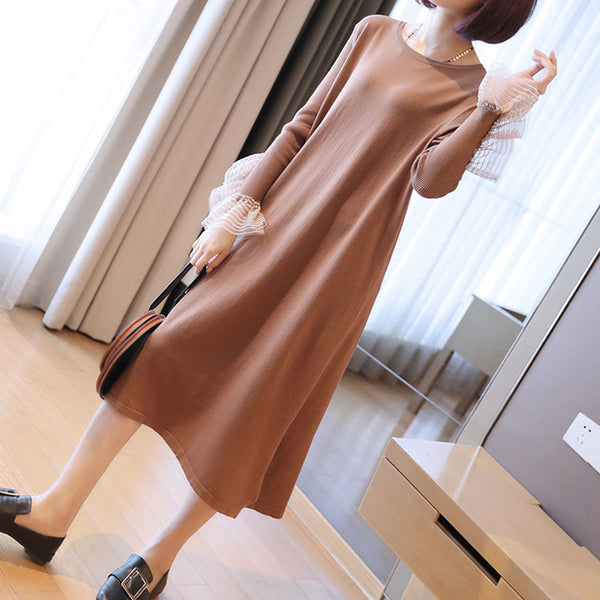 Pluz Size Long-sleeved Knit Autumn and Winter Ladies Dress