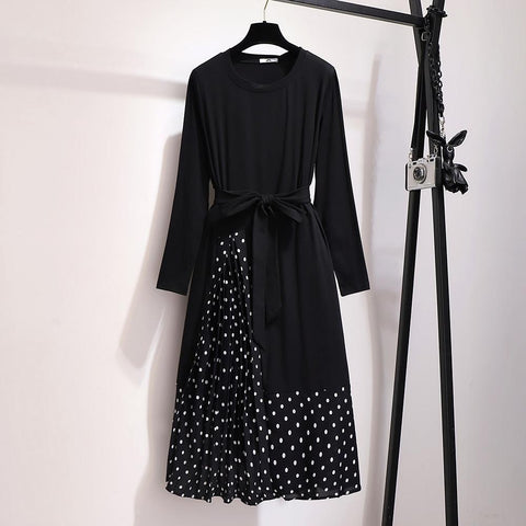 Women Autumn Casual Polka Dot Long Sleeve Black Dress