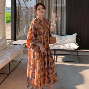 Sweet Color Feather Printed V-neck Lantern Sleeve Loose-Fit A- line Doll Dress