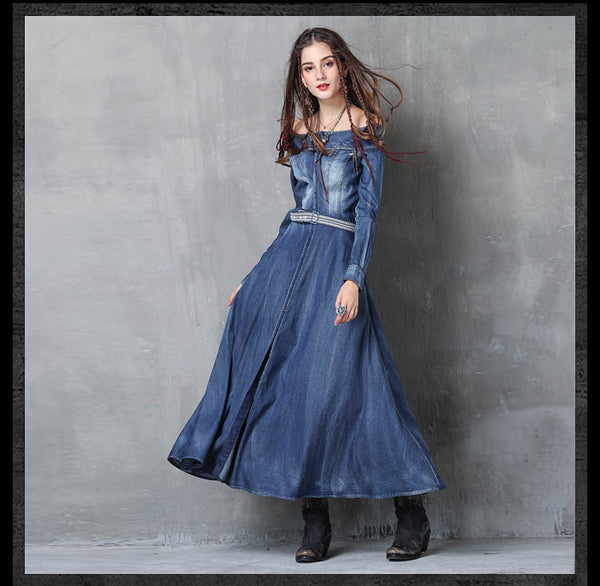 Women Long Sleeve Denim Dress Slash Neck Belted Split Dresses