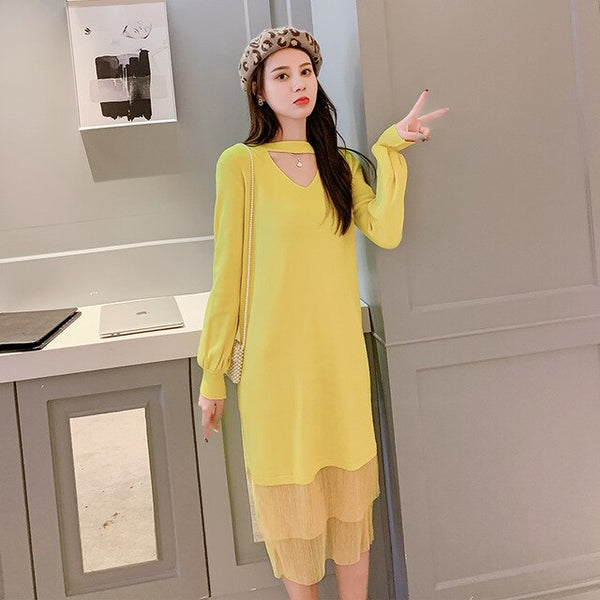 Korean Sweater Dress Women Fashion Women Knitted Dresses