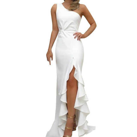 Retro Sleeveless One shoulder Evening Party Ruffles Strap Dresses