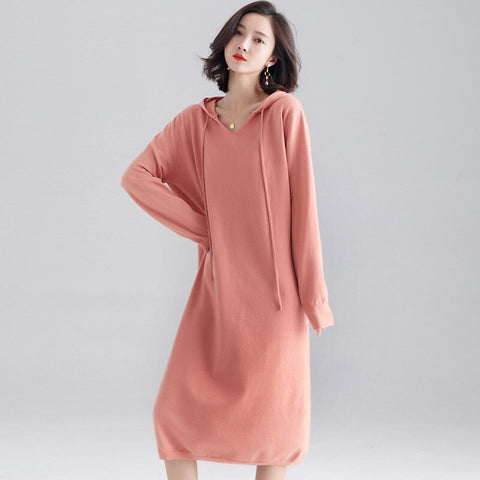 Fashion Hooded Long Sleeve Knitted Sweater Dress