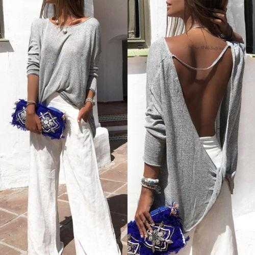Round Neck  Backless  Plain Blouse