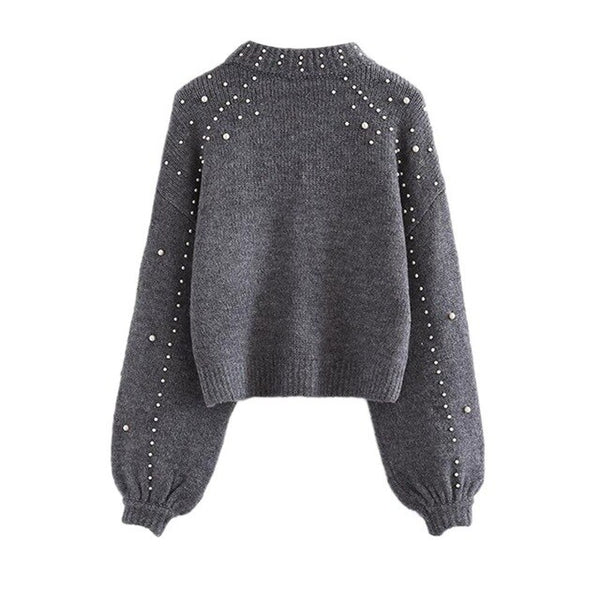 Fashion Pearl turtleneck winter knitted sweater