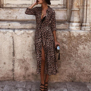 Women Boho Long  Ladies Party Leopard Maxi Dress