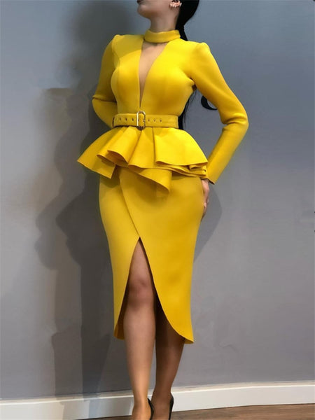 Women Slim Waist Split Long Sleeves   Fake Two Pieces Dress
