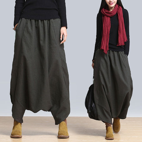 Fashion ZANZEA Solid Baggy Long Pants Women Casual Elastic High Waist Harem Pants