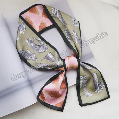 New Thin Narrow Skinny Scarf Multi-functional Fashion Ladies Small Scarf Headscarf for Bag Handle Scarves