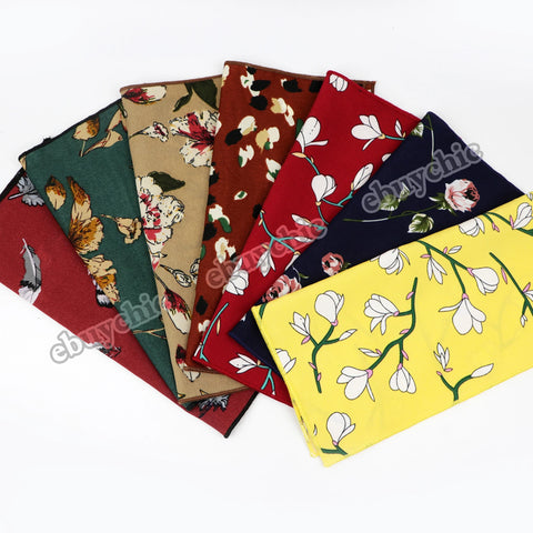 Chiffon Floral Printed Soft Handkerchief Polyester Hankies Party Pocket Square Flower Accessory Scarves