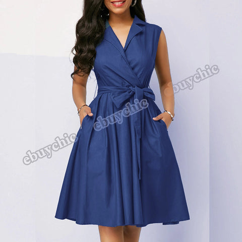 Women Casual Women Dress Sleeveless  Dress Sashes Summer A-line Beach Skater Dresses