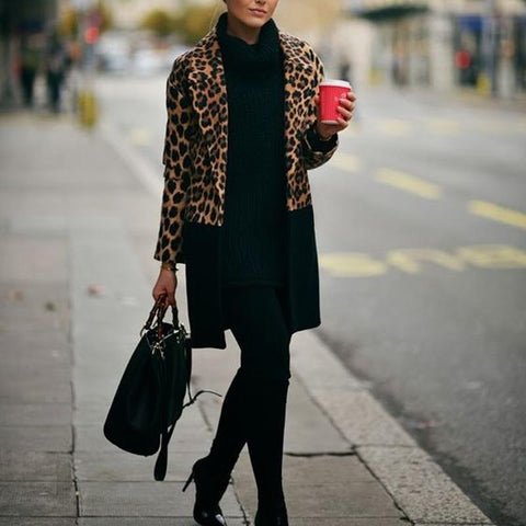 Stylish Lapel Leopard Print Patchwork Coat