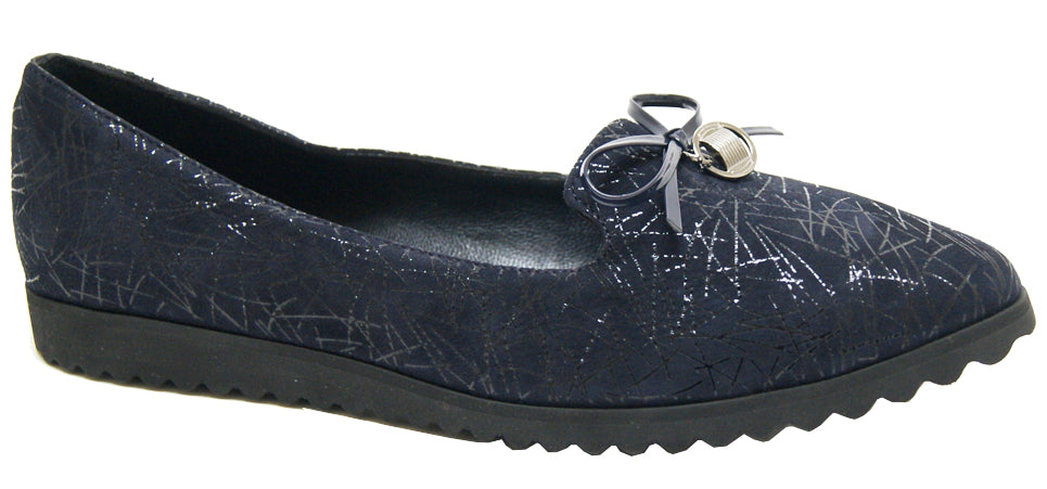 Alex - Navy Printed Suede