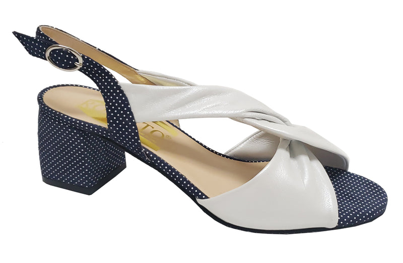 Libby - White & Navy Polka Dots