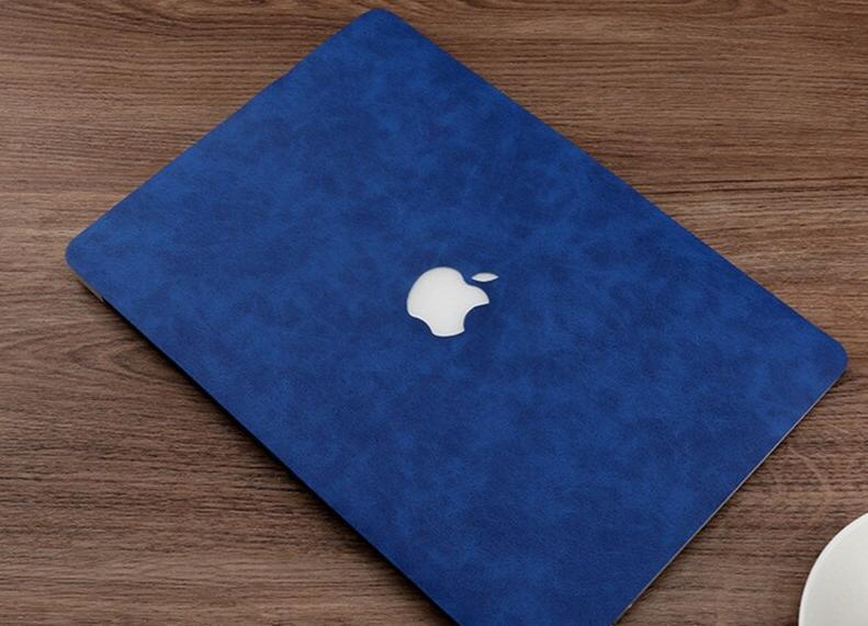 Coque en cuir bleu royal Macbook