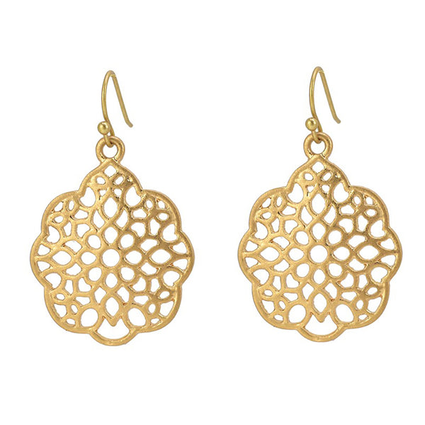 Our Bohemian Drop Earrings - Filigree Cutout Round Shape - worn gold plating Lightweight Dangle Earrings