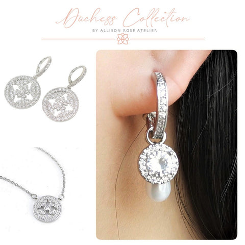 Cz Stone drop earrings with cz stone necklace and 3pc Huggie earrings