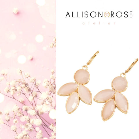 Petal pink blush and gold dangle earrings