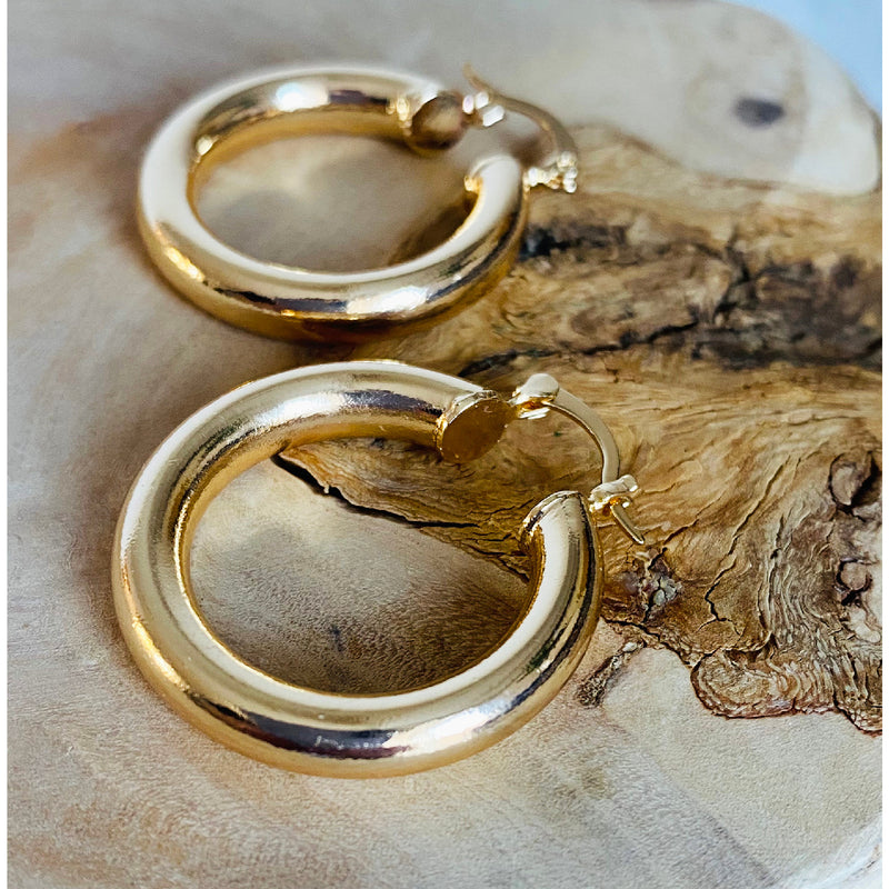 Chunky Huggie Hoops – Large size - 14ct Gold Plated Brass Hoop Earrings USA