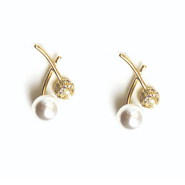Allison Rose Atelier - INTERNATIONAL Pearl & CZ Stone Vintage Crossed Stud Earrings in Gold Plating