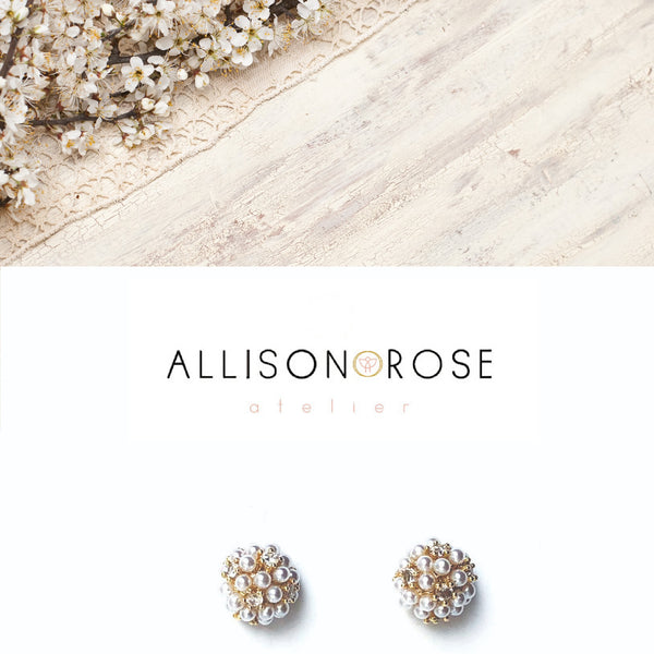 Allison Rose Atelier - INTERNATIONAL Pearl Cluster Brass Vintage Stud Earrings - Mini Cluster