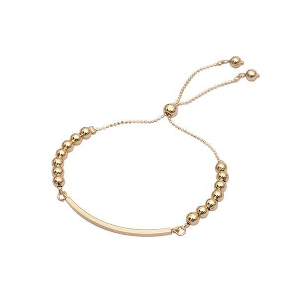 Dainty 16K Gold Plated Adjustable Layering Bracelet – Bar and Beaded Ball Bracelet