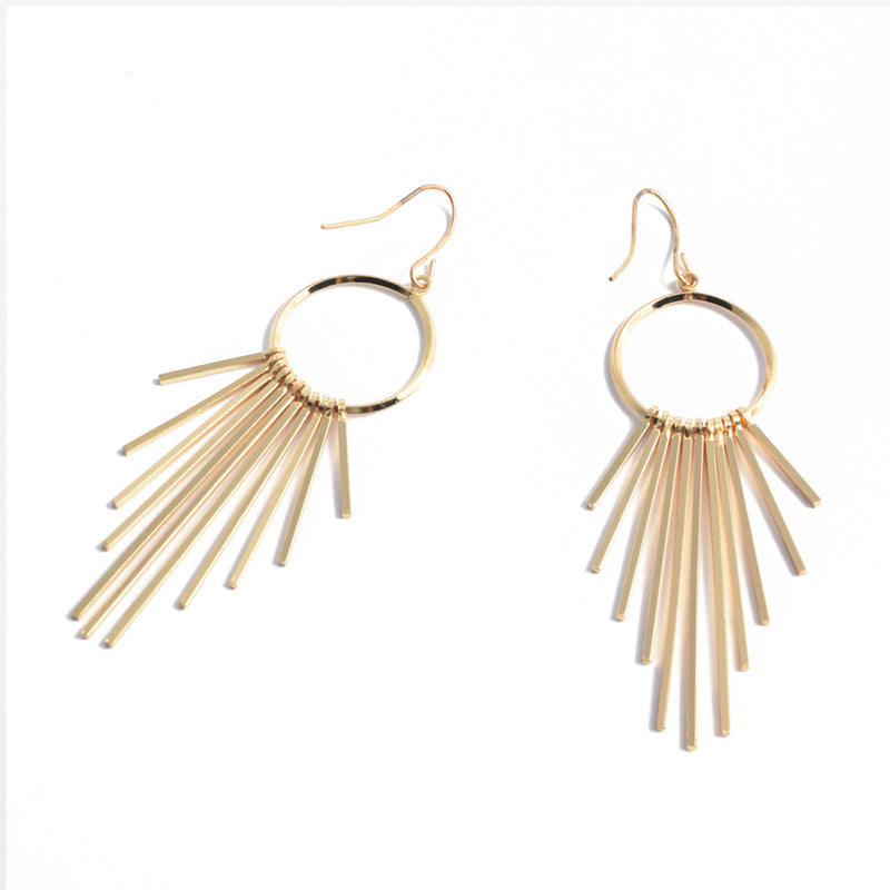 Dangle Earrings with Wire Hoop and Tassel Gold Plated Sunburst Bars