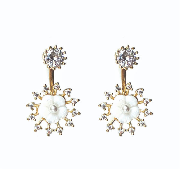 Allison Rose Atelier - INTERNATIONAL Gold Plated Brass Drop Earrings with CZ Stud and Vintage Pearl with Shell Earrings