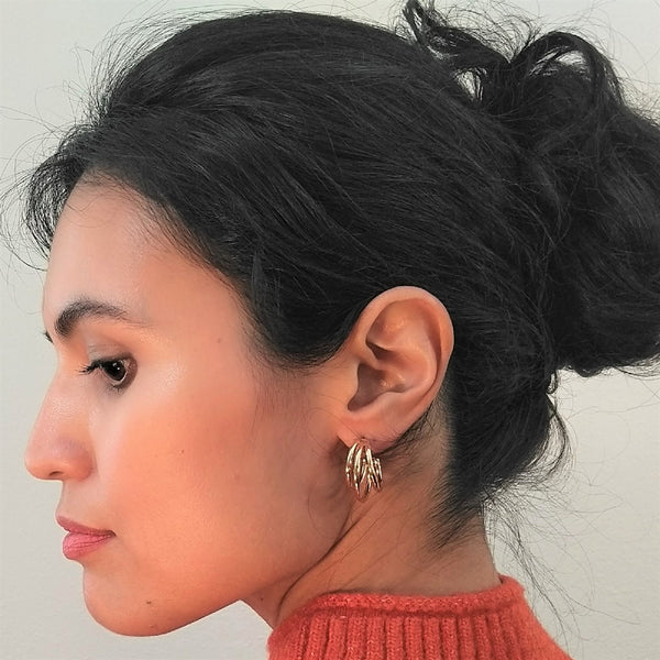 Chunky Split Mini Hoop Earrings with Steel Posts