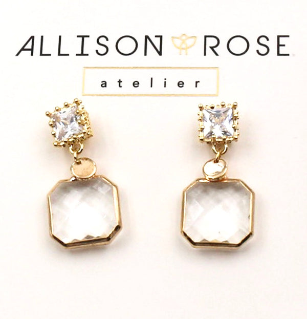 Allison Rose Atelier - CZ Stone Beveled Glass Drop Earrings - Gold Plating with 925 Posts
