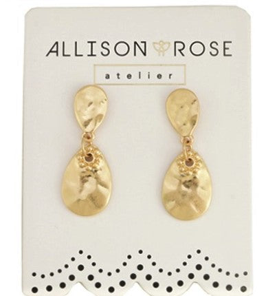 Allison Rose Atelier - Hammered Double Drop Earrings – Bohemian Tribal Earrings with Engraved Floral Design