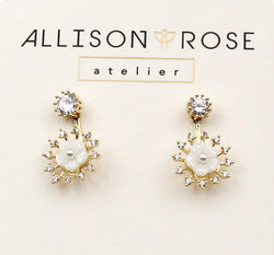 Allison Rose Atelier - Gold Plated Brass Drop Earrings with CZ Stud and Vintage Pearl with Shell Earrings