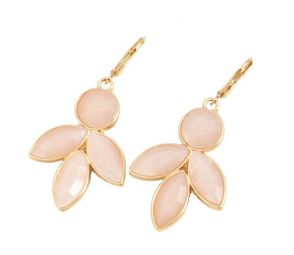 INTERNATIONAL SALE ONLY: Allison Rose Atelier - Petal Pink Dangle Earrings - Faceted Floral Pink Resin with 18ct Gold Plating - Duchess Collection