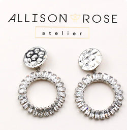 Allison Rose Atelier - Brass with CZ Hammered Stud Drop Earrings