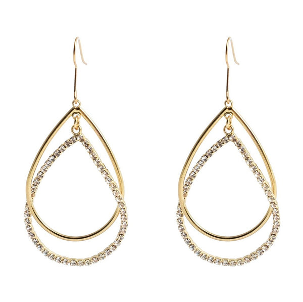 Double Strand Open Teardrop Wire Hoop Earrings in Gold Plating.