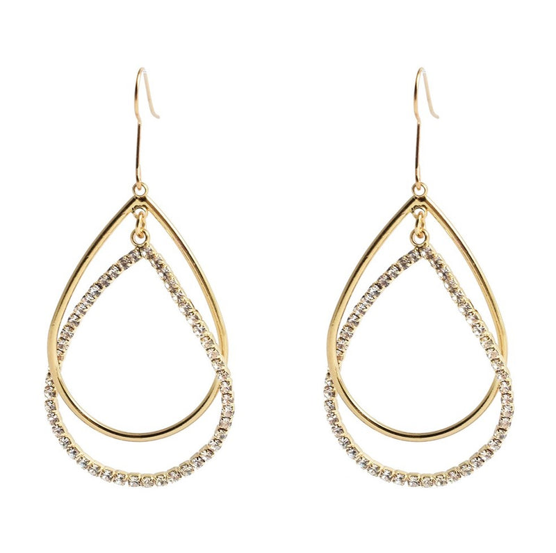 ALLISON ROSE ATELIER Classic Double Strand Open Teardrop Wire Hoop Earrings in Gold Plating.