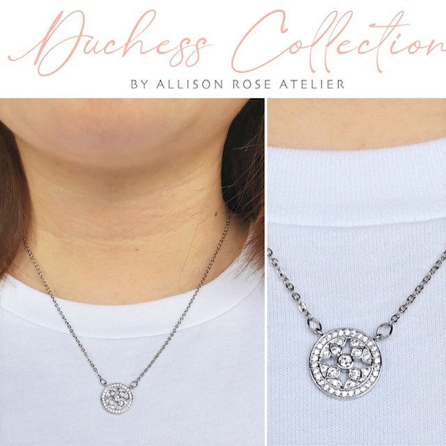 Allison Rose Atelier - Duchess CZ Stone Brass Necklace- Imitation Rhodium