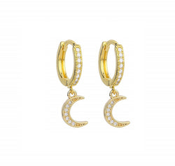 CZ Moon - 14ct Gold Plated Cubic Zirconia Huggie Drop Earrings INT