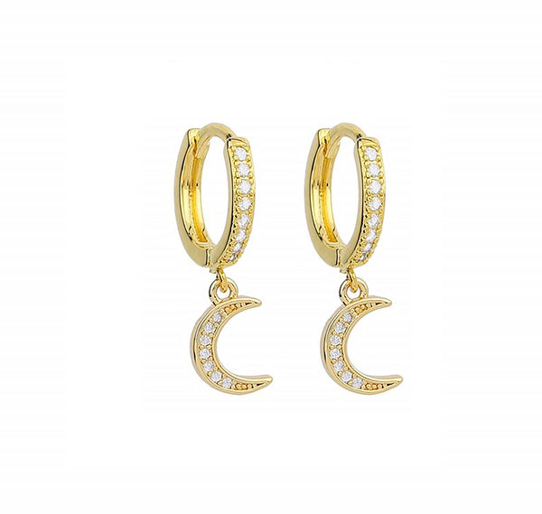 CZ Moon - 14ct Gold Plated Cubic Zirconia Huggie Drop Earrings