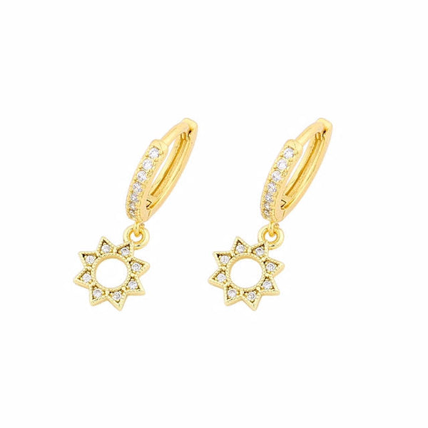CZ Star - 14ct Gold Plated Cubic Zirconia Huggie Drop Earrings
