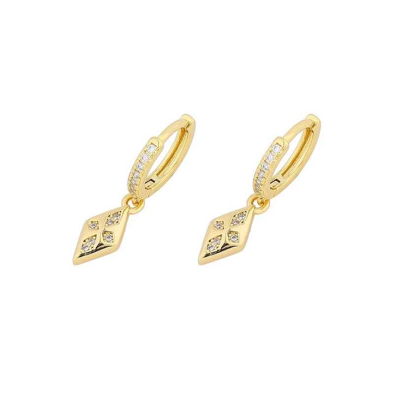 CZ Diamond Shape- 14ct Gold Plated Cubic Zirconia Huggie Drop Earrings INT