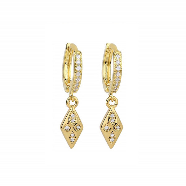 CZ Diamond Shape- 14ct Gold Plated Cubic Zirconia Huggie Drop Earrings