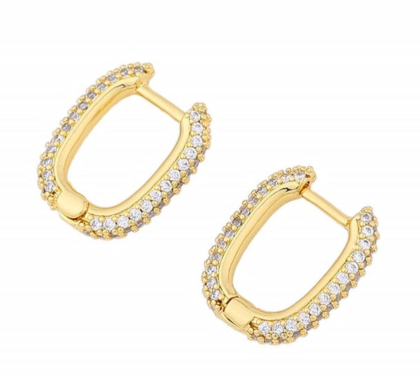 CZ 14ct Gold Plated Cubic Zirconia Huggie Hoop Earrings - International Shipping
