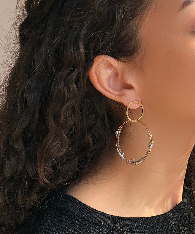 Allison Rose Atelier - Hoop Dangle Earrings with Beautiful Grey Beading