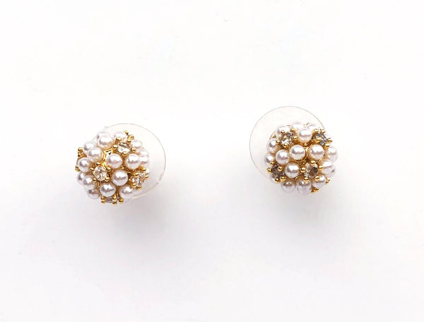 Allison Rose Atelier - Pearl Cluster Brass Vintage Stud Earrings - Mini Cluster