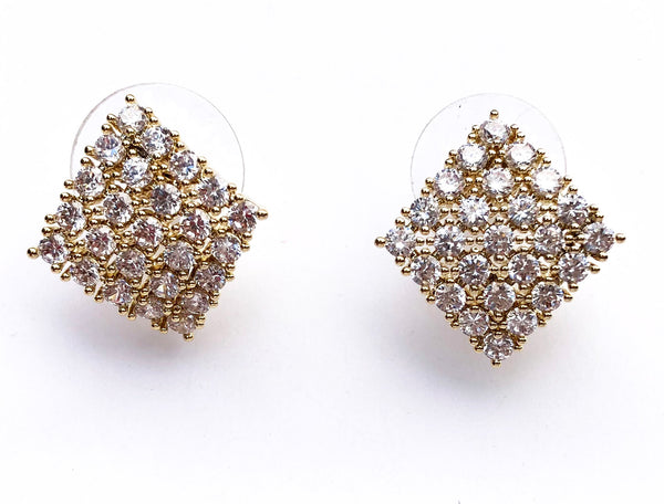 CZ Stone Gold Pave Stud Brass Earrings