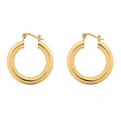 Chunky Huggie Hoops – Large size - 14ct Gold Plated Brass Hoop Earrings INT
